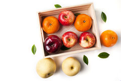 Vitamin c fruit in wooden box Royalty Free Stock Photo