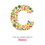 Vitamin C. Fruits and vegetables highest in vitamin C composing C letter shape, nutrition and healthy eating concept Stock Photography