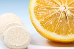 Vitamin c and lemon preventive against viruses stock photo