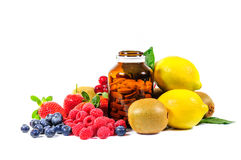 Vitamin C and mix fruit Stock Photo