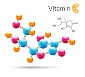 Vitamin C molecule. Vitamin C 3d molecule chemical science atomic structure poster vector illustration Royalty Free Stock Photo
