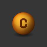 Vitamin C Orange Glossy Sphere Icon on Dark Background. Vector Royalty Free Stock Photos