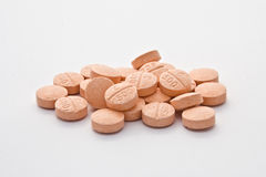 Vitamin C pills. Vitamin C (L-ascorbic acid) pills on white background Royalty Free Stock Photos