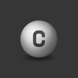 Vitamin C Silver Glossy Sphere Icon on Dark Background. Vector Royalty Free Stock Photography