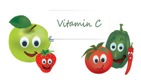 Vitamin C Vegetables and Fruits Stock Images
