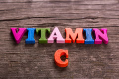 Vitamin C word made of wooden letters Stock Photography