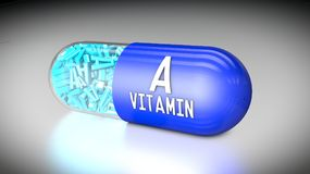 Vitamin capsule or dietary supplements. 3D illustration of a vitamin capsule or dietary supplements Royalty Free Stock Photo