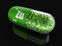 Vitamin capsule Zn (clipping path included). Stock Images