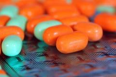 Vitamin Closeup. Close up of pills on a strip royalty free stock photos
