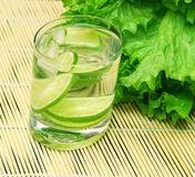 Vitamin cocktail in a glass. The vitamin citron cocktail standing against leaves of salad Royalty Free Stock Photo
