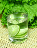 Vitamin cocktail in a glass. The vitamin citron cocktail standing against leaves of salad Stock Photos