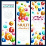 Vitamin and mineral complex pills vector banners. Vitamin complex banners of vitamins bubbles with names of A, B and ascorbic acid C and PP or multivitamin D Royalty Free Stock Image