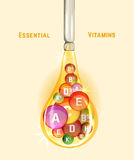 Vitamin Complex Image. Essential vitamin complex. Beautiful creative background with different vitamins in glossy pills inside the oily drop. Vector illustration Royalty Free Stock Image