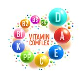 Vitamin pill or multivitamin complex banner design. Vitamin complex poster with colorful pill of healthy food supplement. Multivitamin ball with A, B group and D vector illustration