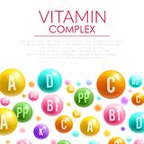 Vitamin complex vector poster mineral bubble pills Stock Photography