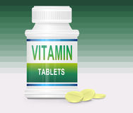 Vitamin concept. Illustration depicting a single medication container with the words 'vitamin tablets' on the front with green gradient stripe background and a Royalty Free Stock Photography