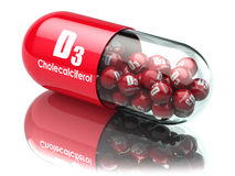 Vitamin D3 capsule or pill. Dietary supplements. Cholecalciferol. 3d illustration Royalty Free Stock Images