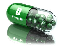 Vitamin D capsule or pill. Dietary supplements. 3d illustration Stock Photos