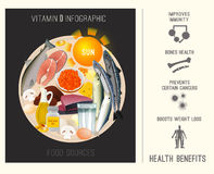 Vitamin D i mat vektor illustrationer