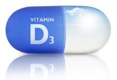 Vitamin d pill concept, sunshine inside a capsule Royalty Free Stock Photos