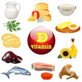 Vitamin d and plant and animal products Royalty Free Stock Photography