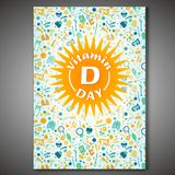 Vitamin D poster. Vitamin D vertical poster. Vector illustration in bright colors. World event awareness concept. Medical, scientific and educational graphic stock illustration