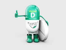 Vitamin D shining pill cartoon capsule. 3d illustration Stock Images