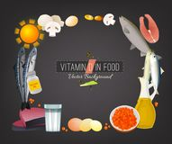 Vitamin D Background. Vitamin D vector illustration. Foods containing ergocalciferol on a dark grey background. Source of antirachitic vitamin : raw milk, eggs Stock Image