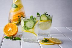 Vitamin detox  cocktail with citrus and mint. Easy homemade lemonade.. Royalty Free Stock Images