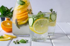 Vitamin detox  cocktail with citrus and mint. Easy homemade lemonade.. Royalty Free Stock Photography