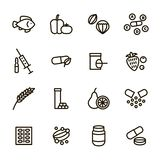 Vitamin and Dietary Signs Black Thin Line Icon Set. Vector royalty free illustration