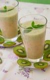 Vitamin drink- kiwi banana smoothie Royalty Free Stock Images