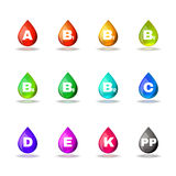 Vitamin drop colorful signs set vector design Stock Image