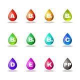 Vitamin drop colorful signs set vector design Stock Image