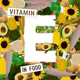 Vitamin E Background. Foods containing vitamin E colorful background. Source of vitamin E - nuts, corn, vegetables, fish, oils. Medical, healthcare, gastronomy Royalty Free Stock Image