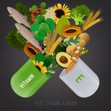 Vitamin E in Food. Vitamin E vector illustration. Foods containing vitamin E come apart from opened pill. Source of vitamin E - nuts, corn, vegetables, fish Stock Photos