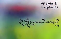 Vitamin E, formel, vitaminer Fotografering för Bildbyråer