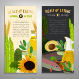 Vitamin E Image. Tocopherol in food. Beautiful vector illustration with vitamin E rich food products in modern style. Portrait banners set. Healthy eating Stock Photography