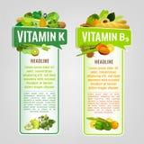 Vitamin-Fahnen eingestellt Stockbild