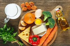 Vitamin A in food. stock images