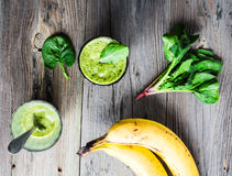 Vitamin fresh, green smoothie with spinach, banana in a glass Royalty Free Stock Photo