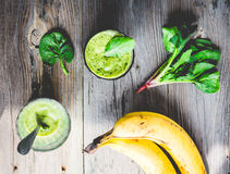 Vitamin fresh, green smoothie with spinach, banana in a glass Stock Image