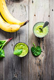 Vitamin fresh, green smoothie with spinach, banana in a glass Royalty Free Stock Photography