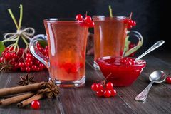 Vitamin healthy viburnum berry warm drink in glass cups with fresh raw viburnum berries and cinnamon sticks, anise stars. On a dark kitchen table Stock Photos