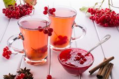 Vitamin healthy viburnum berry warm drink in glass cups with fresh raw viburnum berries. And cinnamon sticks, anise stars on a white kitchen table Stock Photo