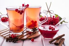Vitamin healthy viburnum berry warm drink in glass cups with fresh raw viburnum berries. And cinnamon sticks, anise stars on a white kitchen table Stock Images
