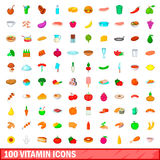 100 vitamin icons set, cartoon style. 100 vitamin icons set in cartoon style for any design illustration Vector Illustration