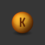 Vitamin K Orange Glossy Sphere Icon on Dark Background. Vector. Illustration Stock Image