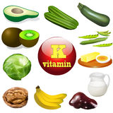 Vitamin K plant and animal products Royalty Free Stock Photos