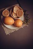 Vitamin lemons on grey background Royalty Free Stock Photography